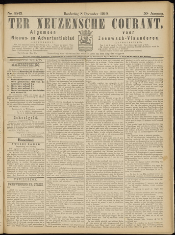 Ter Neuzensche Courant. Algemeen Nieuws- en Advertentieblad voor Zeeuwsch-Vlaanderen / Neuzensche Courant ... (idem) / (Algemeen) nieuws en advertentieblad voor Zeeuwsch-Vlaanderen 1910-12-08