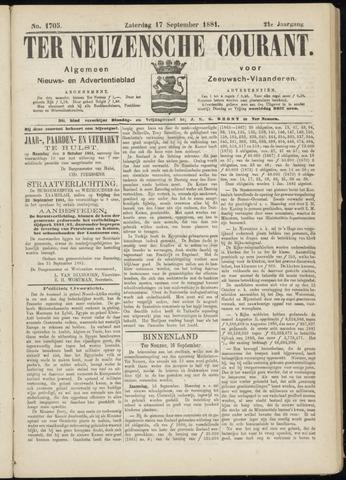 Ter Neuzensche Courant. Algemeen Nieuws- en Advertentieblad voor Zeeuwsch-Vlaanderen / Neuzensche Courant ... (idem) / (Algemeen) nieuws en advertentieblad voor Zeeuwsch-Vlaanderen 1881-09-17