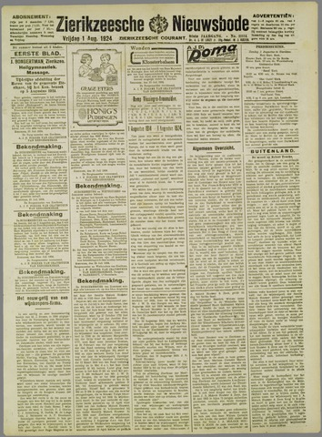 Zierikzeesche Nieuwsbode 1924-08-01