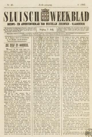 Sluisch Weekblad. Nieuws- en advertentieblad voor Westelijk Zeeuwsch-Vlaanderen 1865-07-07