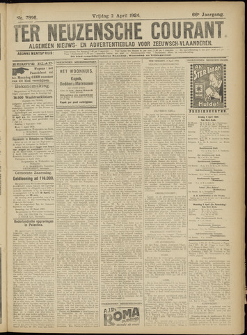 Ter Neuzensche Courant. Algemeen Nieuws- en Advertentieblad voor Zeeuwsch-Vlaanderen / Neuzensche Courant ... (idem) / (Algemeen) nieuws en advertentieblad voor Zeeuwsch-Vlaanderen 1926-04-02