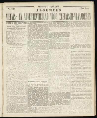 Ter Neuzensche Courant. Algemeen Nieuws- en Advertentieblad voor Zeeuwsch-Vlaanderen / Neuzensche Courant ... (idem) / (Algemeen) nieuws en advertentieblad voor Zeeuwsch-Vlaanderen 1873-04-23