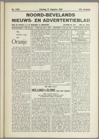 Noord-Bevelands Nieuws- en advertentieblad 1949-08-27