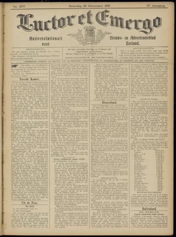 Luctor et Emergo. Antirevolutionair nieuws- en advertentieblad voor Zeeland / Zeeuwsch-Vlaanderen. Orgaan ter verspreiding van de christelijke beginselen in Zeeuwsch-Vlaanderen 1915-11-20