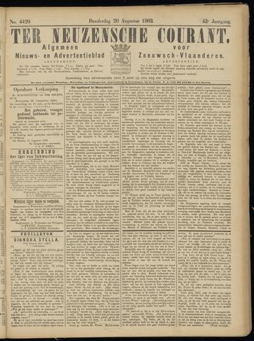 Ter Neuzensche Courant. Algemeen Nieuws- en Advertentieblad voor Zeeuwsch-Vlaanderen / Neuzensche Courant ... (idem) / (Algemeen) nieuws en advertentieblad voor Zeeuwsch-Vlaanderen 1903-08-20