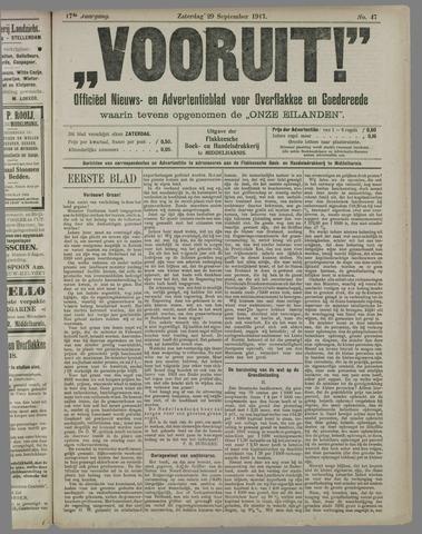 """""""Vooruit!""""Officieel Nieuws- en Advertentieblad voor Overflakkee en Goedereede 1917-09-29"""