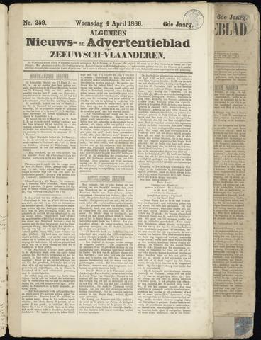 Ter Neuzensche Courant. Algemeen Nieuws- en Advertentieblad voor Zeeuwsch-Vlaanderen / Neuzensche Courant ... (idem) / (Algemeen) nieuws en advertentieblad voor Zeeuwsch-Vlaanderen 1866-04-04