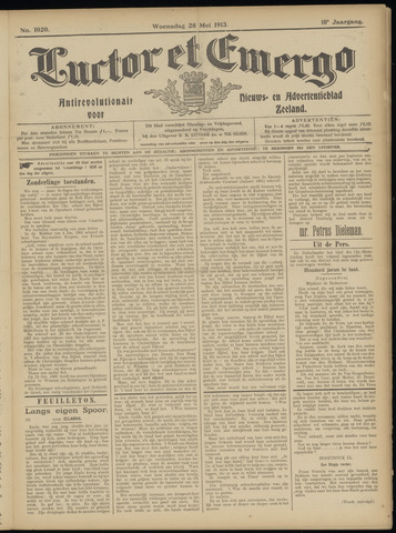 Luctor et Emergo. Antirevolutionair nieuws- en advertentieblad voor Zeeland / Zeeuwsch-Vlaanderen. Orgaan ter verspreiding van de christelijke beginselen in Zeeuwsch-Vlaanderen 1913-05-28