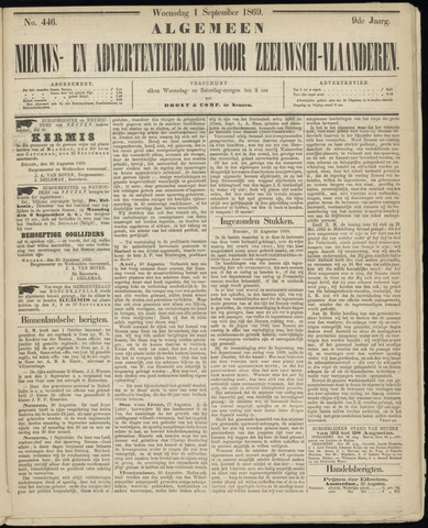 Ter Neuzensche Courant. Algemeen Nieuws- en Advertentieblad voor Zeeuwsch-Vlaanderen / Neuzensche Courant ... (idem) / (Algemeen) nieuws en advertentieblad voor Zeeuwsch-Vlaanderen 1869-09-01