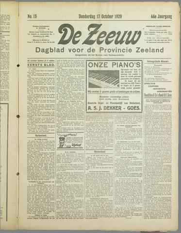 De Zeeuw. Christelijk-historisch nieuwsblad voor Zeeland 1929-10-17