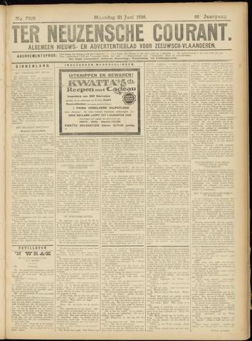 Ter Neuzensche Courant. Algemeen Nieuws- en Advertentieblad voor Zeeuwsch-Vlaanderen / Neuzensche Courant ... (idem) / (Algemeen) nieuws en advertentieblad voor Zeeuwsch-Vlaanderen 1926-06-21
