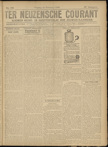 Ter Neuzensche Courant. Algemeen Nieuws- en Advertentieblad voor Zeeuwsch-Vlaanderen / Neuzensche Courant ... (idem) / (Algemeen) nieuws en advertentieblad voor Zeeuwsch-Vlaanderen 1928-02-10
