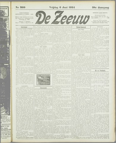 De Zeeuw. Christelijk-historisch nieuwsblad voor Zeeland 1924-06-06