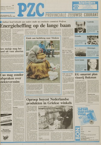 Provinciale Zeeuwse Courant 1992-02-27