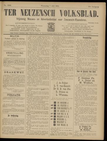 Ter Neuzensch Volksblad. Vrijzinnig nieuws- en advertentieblad voor Zeeuwsch- Vlaanderen / Zeeuwsch Nieuwsblad. Nieuws- en advertentieblad voor Zeeland 1915-07-07