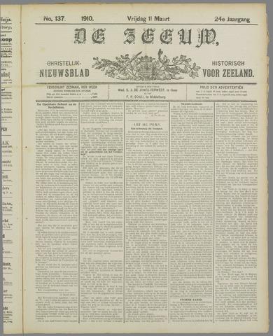 De Zeeuw. Christelijk-historisch nieuwsblad voor Zeeland 1910-03-11