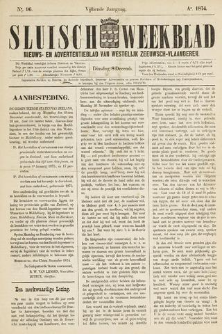 Sluisch Weekblad. Nieuws- en advertentieblad voor Westelijk Zeeuwsch-Vlaanderen 1874-12-08