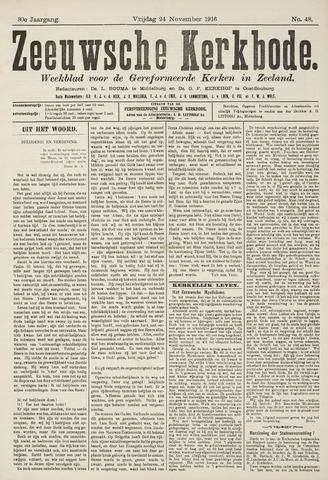 Zeeuwsche kerkbode, weekblad gewijd aan de belangen der gereformeerde kerken/ Zeeuwsch kerkblad 1916-11-24
