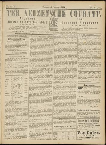 Ter Neuzensche Courant. Algemeen Nieuws- en Advertentieblad voor Zeeuwsch-Vlaanderen / Neuzensche Courant ... (idem) / (Algemeen) nieuws en advertentieblad voor Zeeuwsch-Vlaanderen 1910-10-04