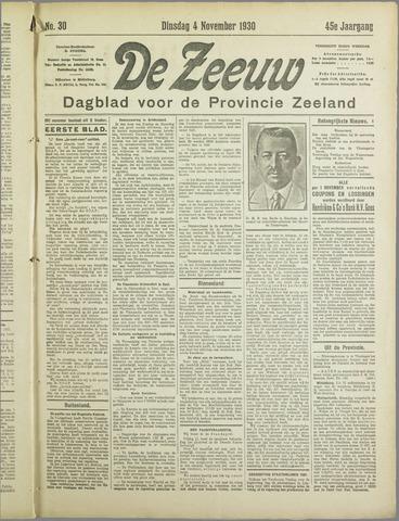 De Zeeuw. Christelijk-historisch nieuwsblad voor Zeeland 1930-11-04