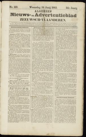 Ter Neuzensche Courant. Algemeen Nieuws- en Advertentieblad voor Zeeuwsch-Vlaanderen / Neuzensche Courant ... (idem) / (Algemeen) nieuws en advertentieblad voor Zeeuwsch-Vlaanderen 1863-06-24