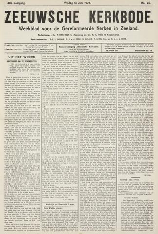 Zeeuwsche kerkbode, weekblad gewijd aan de belangen der gereformeerde kerken/ Zeeuwsch kerkblad 1926-06-18