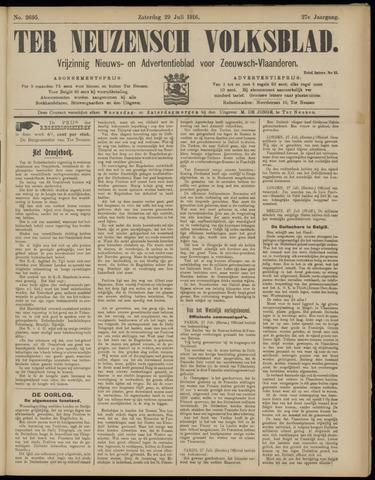 Ter Neuzensch Volksblad. Vrijzinnig nieuws- en advertentieblad voor Zeeuwsch- Vlaanderen / Zeeuwsch Nieuwsblad. Nieuws- en advertentieblad voor Zeeland 1916-07-29