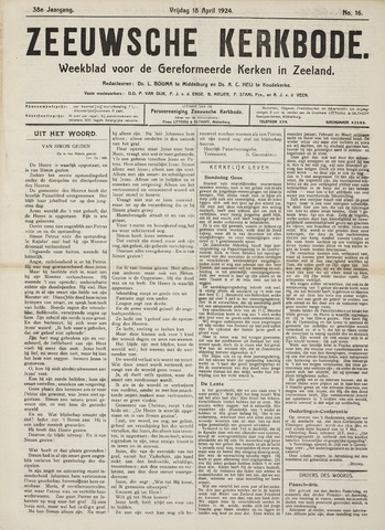 Zeeuwsche kerkbode, weekblad gewijd aan de belangen der gereformeerde kerken/ Zeeuwsch kerkblad 1924-04-18
