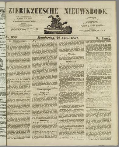 Zierikzeesche Nieuwsbode 1852-04-22