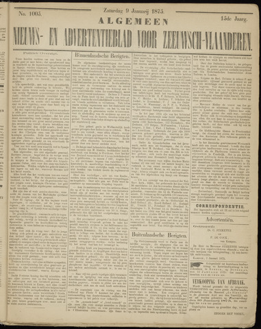 Ter Neuzensche Courant. Algemeen Nieuws- en Advertentieblad voor Zeeuwsch-Vlaanderen / Neuzensche Courant ... (idem) / (Algemeen) nieuws en advertentieblad voor Zeeuwsch-Vlaanderen 1875-01-09