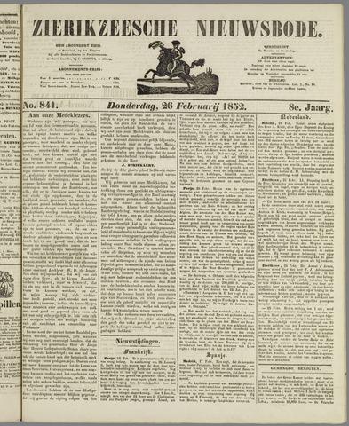 Zierikzeesche Nieuwsbode 1852-02-26