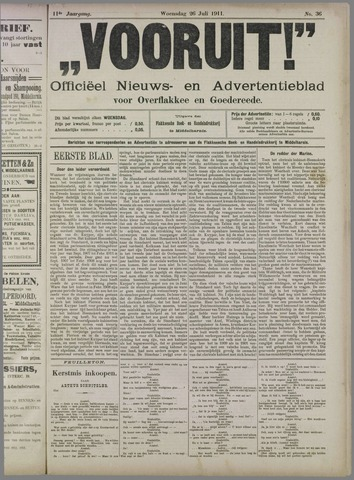 """""""Vooruit!""""Officieel Nieuws- en Advertentieblad voor Overflakkee en Goedereede 1911-07-26"""