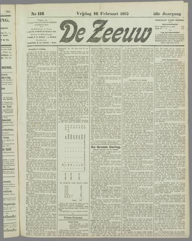 De Zeeuw. Christelijk-historisch nieuwsblad voor Zeeland 1917-02-16