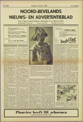 Noord-Bevelands Nieuws- en advertentieblad 1958-02-15