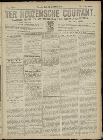 Ter Neuzensche Courant. Algemeen Nieuws- en Advertentieblad voor Zeeuwsch-Vlaanderen / Neuzensche Courant ... (idem) / (Algemeen) nieuws en advertentieblad voor Zeeuwsch-Vlaanderen 1920-10-14