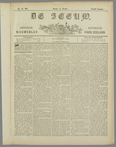 De Zeeuw. Christelijk-historisch nieuwsblad voor Zeeland 1897-12-14