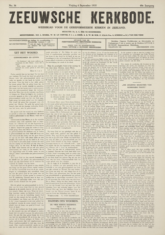 Zeeuwsche kerkbode, weekblad gewijd aan de belangen der gereformeerde kerken/ Zeeuwsch kerkblad 1935-09-06