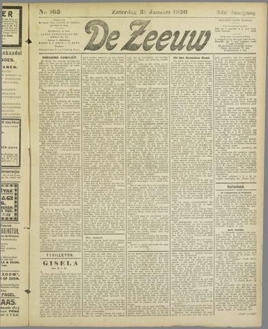 De Zeeuw. Christelijk-historisch nieuwsblad voor Zeeland 1920-01-31