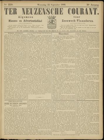 Ter Neuzensche Courant. Algemeen Nieuws- en Advertentieblad voor Zeeuwsch-Vlaanderen / Neuzensche Courant ... (idem) / (Algemeen) nieuws en advertentieblad voor Zeeuwsch-Vlaanderen 1886-09-22