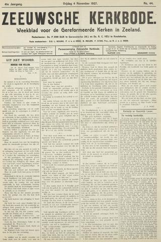 Zeeuwsche kerkbode, weekblad gewijd aan de belangen der gereformeerde kerken/ Zeeuwsch kerkblad 1927-11-04