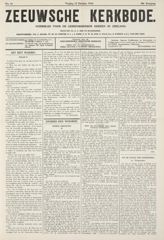 Zeeuwsche kerkbode, weekblad gewijd aan de belangen der gereformeerde kerken/ Zeeuwsch kerkblad 1934-10-12