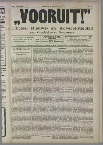 """""""Vooruit!""""Officieel Nieuws- en Advertentieblad voor Overflakkee en Goedereede 1913-01-08"""