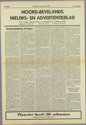 Noord-Bevelands Nieuws- en advertentieblad 1957-09-21