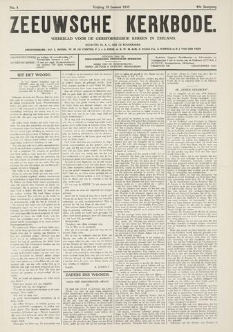 Zeeuwsche kerkbode, weekblad gewijd aan de belangen der gereformeerde kerken/ Zeeuwsch kerkblad 1935-01-18