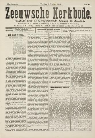 Zeeuwsche kerkbode, weekblad gewijd aan de belangen der gereformeerde kerken/ Zeeuwsch kerkblad 1915-10-08