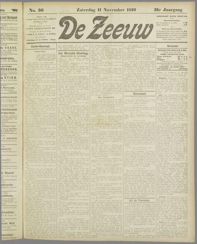 De Zeeuw. Christelijk-historisch nieuwsblad voor Zeeland 1916-11-11