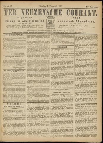 Ter Neuzensche Courant. Algemeen Nieuws- en Advertentieblad voor Zeeuwsch-Vlaanderen / Neuzensche Courant ... (idem) / (Algemeen) nieuws en advertentieblad voor Zeeuwsch-Vlaanderen 1905-02-07