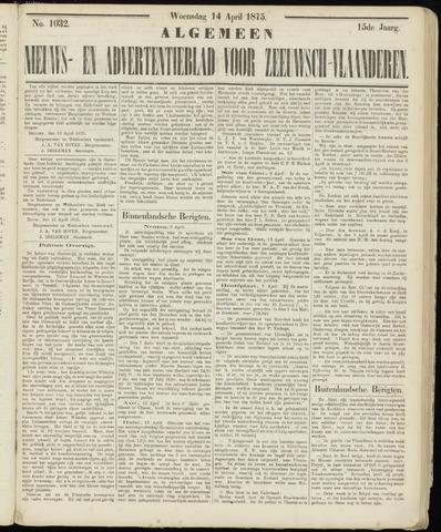 Ter Neuzensche Courant. Algemeen Nieuws- en Advertentieblad voor Zeeuwsch-Vlaanderen / Neuzensche Courant ... (idem) / (Algemeen) nieuws en advertentieblad voor Zeeuwsch-Vlaanderen 1875-04-14