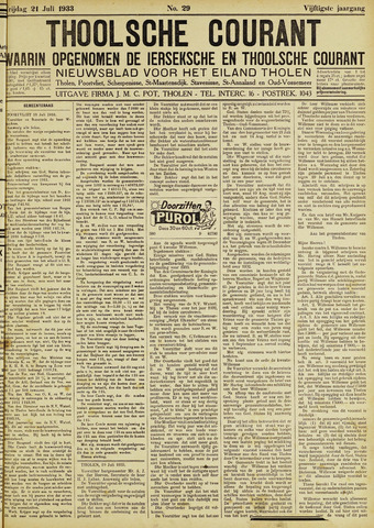 Ierseksche en Thoolsche Courant 1933-07-21