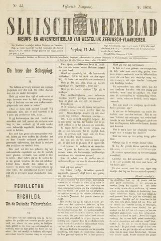 Sluisch Weekblad. Nieuws- en advertentieblad voor Westelijk Zeeuwsch-Vlaanderen 1874-07-17